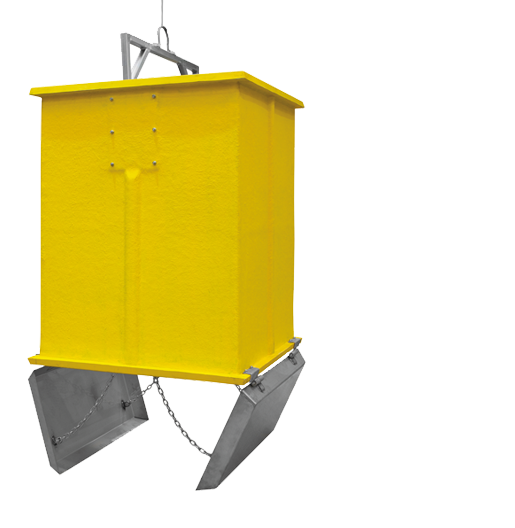 Yellow polyester container for packaging and two trays of stainless steel, it is suitable for double hook lift collection. Speeds up collection, in addition to other advantages that you will enjoy with our underground waste containers
