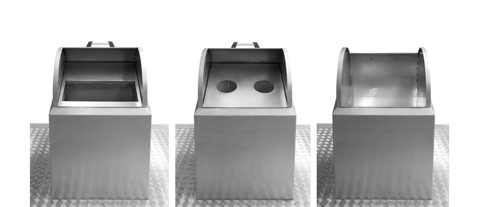 Model: UTCL — Three reception bins of 125 litres of capacity made entirely of stainless steel. They are intented for paper and cardboard, glass and waste or packaging.